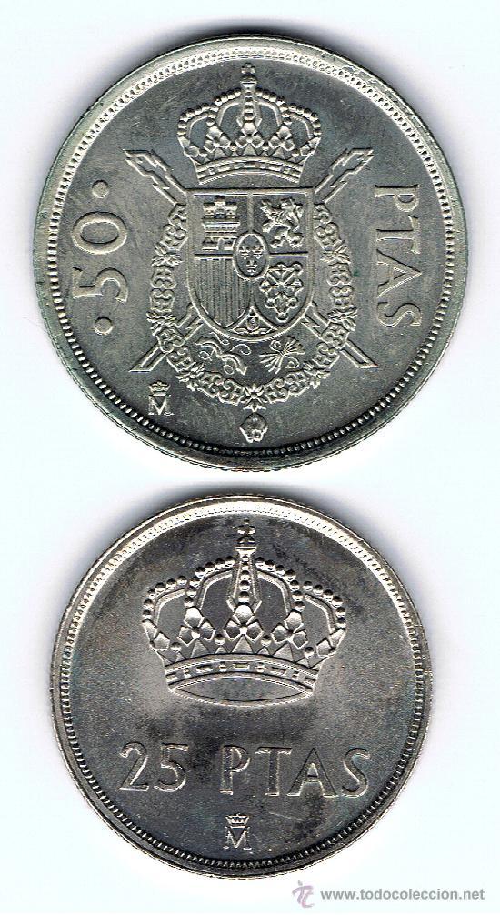 Monedas Juan Carlos I: 2 Monedas SC 1 de 25 Pts. 1982 y 1 de 50 Pts.de 1982 Ver fotos - Foto 2 - 27639752