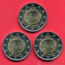 Monedas Juan Carlos I: LOTE 3 MONEDAS DE 2 EUROS 2009 ESPAÑA EMU ESTRELLAS GRANDES (VARIANTE) SIN CIRCULAR DE CARTUCHO RB. Lote 238870250
