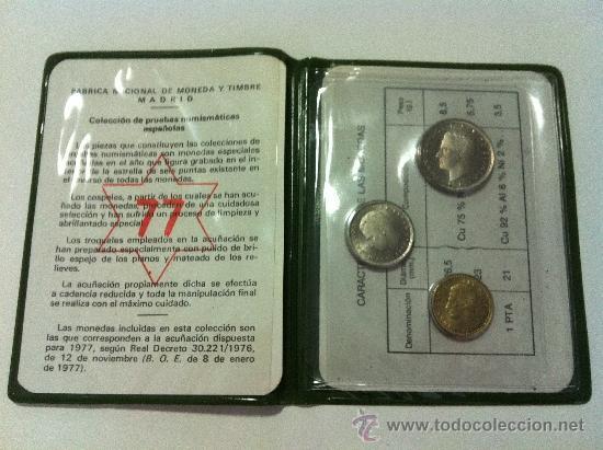 CARTERA PRUEBA NUMISMATICA. AÑO 1977. TRES VALORES (Numismática - España Modernas y Contemporáneas - Juan Carlos I)