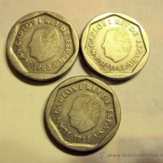 Monedas Juan Carlos I: 200 PESETAS 1988 LOTE 3 MONEDAS. Lote 34447862