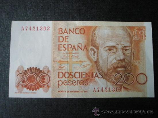 2 BILLETES DE ESPAÑA-2X200 PESETAS-SERIE A7421302.3-LEOPOLDO ALAS CLARÍN-CORRELATIVOS-PERFECTO. (Numismática - España Modernas y Contemporáneas - Juan Carlos I)