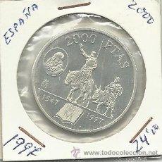 Monedas Juan Carlos I: 2000 PESETAS PLATA AÑO 1997 CERVANTES. Lote 36037757