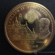 Monedas Juan Carlos I: MONEDA PLATA 2000 PESETAS PTS FELIPE II EL ESCORIAL 1998. Lote 36371405