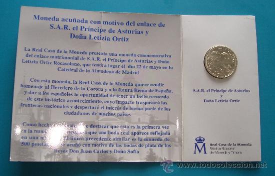 Monedas Juan Carlos I: MONEDA de PLATA 925 12€ BODA DE SU ALTESA REAL EL PRINCIPE DE ASTURIAS Y DOÑA LETIZIA ORTIZ - Foto 3 - 36616532