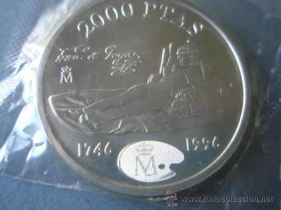 MONEDA DE ESPAÑA-2000 PESETAS-1996-PLATA-FCO DE GOYA-MAJA DESNUDA-NUEVA-. (Numismática - España Modernas y Contemporáneas - Juan Carlos I)