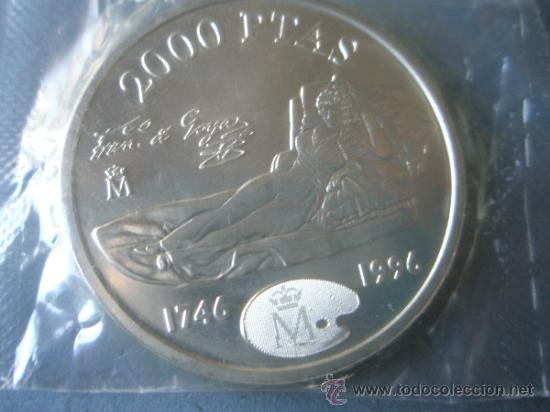 Monedas Juan Carlos I: MONEDA DE ESPAÑA-2000 PESETAS-1996-PLATA-Fco DE GOYA-MAJA DESNUDA-NUEVA-. - Foto 3 - 37969434