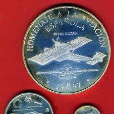 Monedas Juan Carlos I: 3 MONEDAS 1 EURO, 5 Y 25 EUROS , 1997 , HOMENAJE AVIACION PLATA , LEER , ORIGINAL, AL12. Lote 137634292
