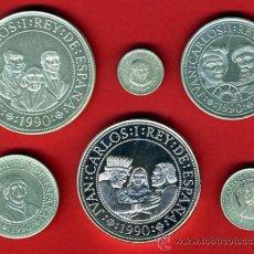 Monedas Juan Carlos I: LOTE DE 6 MONEDAS 5º CENTENARIO 1990 , + 5000 PESETAS , PLATA , ORIGINAL, AL37. Lote 37984926