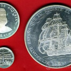 Monedas Juan Carlos I: 3 MONEDAS, 1 5 Y 25 ECU ECUS, 1995 CINCUENTIN , PLATA , LEER , ORIGINAL, AL53. Lote 37985354