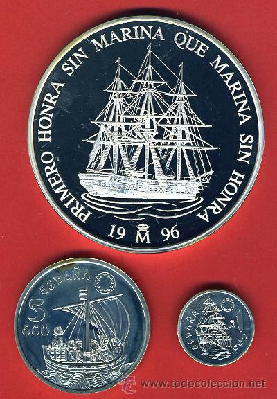 3 MONEDAS, 1 5 Y 25 ECU ECUS, 1996 CINCUENTIN , PLATA , LEER , ORIGINAL, AL54 (Numismática - España Modernas y Contemporáneas - Juan Carlos I)