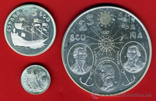 Monedas Juan Carlos I: 3 MONEDAS, 1 5 Y 25 ECU ECUS, 1995 CINCUENTIN , PLATA , LEER , ORIGINAL, AL53 - Foto 2 - 37985354