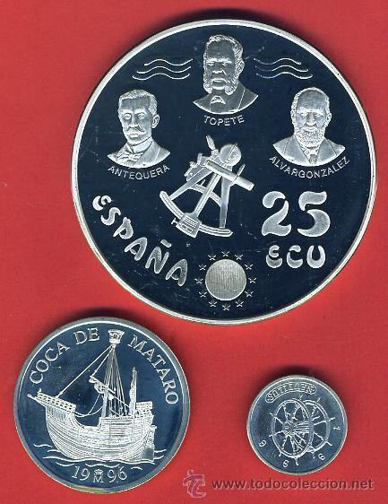 Monedas Juan Carlos I: 3 MONEDAS, 1 5 Y 25 ECU ECUS, 1996 CINCUENTIN , PLATA , LEER , ORIGINAL, AL54 - Foto 2 - 37985388