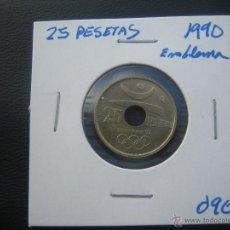 Monedas Juan Carlos I: 25 PESETAS 1990 EMBLEMA. Lote 46882890