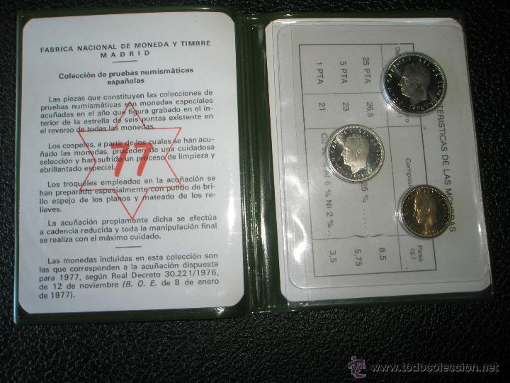 *9919-CARTERA MONEDAS-PRUEBAS NUMISMATICAS-F.N.M.T-1977-ESPAÑA-JUAN CARLOS I-ORIGINALES-. (Numismática - España Modernas y Contemporáneas - Juan Carlos I)