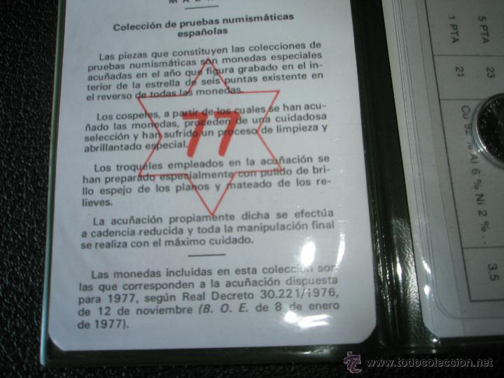 Monedas Juan Carlos I: *9919-CARTERA MONEDAS-PRUEBAS NUMISMATICAS-F.N.M.T-1977-ESPAÑA-JUAN CARLOS I-ORIGINALES-. - Foto 3 - 39359964