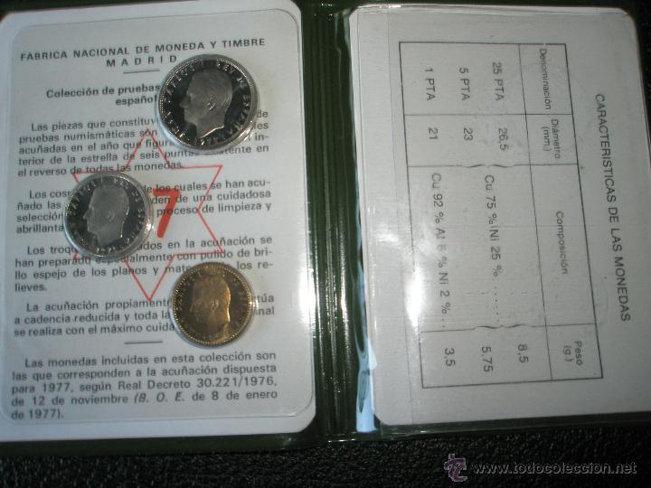 Monedas Juan Carlos I: *9919-CARTERA MONEDAS-PRUEBAS NUMISMATICAS-F.N.M.T-1977-ESPAÑA-JUAN CARLOS I-ORIGINALES-. - Foto 2 - 39359964