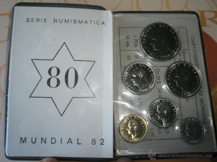 CARTERA MONEDAS-SERIE NUMISMATICA-ESPAÑA-MUNDIAL ESPAÑA 82*80-ORIGINALES-. (Numismática - España Modernas y Contemporáneas - Juan Carlos I)