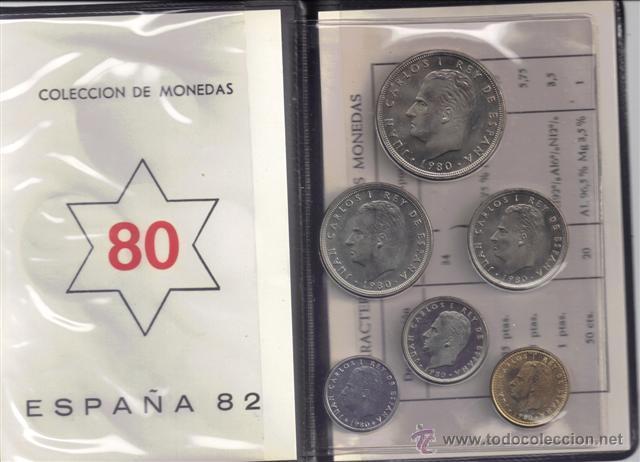 JUAN CARLOS : CARTERA MONEDAS 1980 ESTRELLA 80 MUNDIAL-82 S/C (Numismática - España Modernas y Contemporáneas - Juan Carlos I)