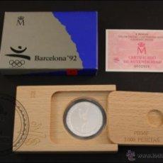 Monedas Juan Carlos I: ESTUCHE FNMT - OLIMPIADAS BARCELONA 92. TENIS - AÑO 1991 SERIE 3 - 2000 PTS - PLATA 925 - FDC/PROOF. Lote 41333231