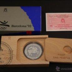 Monedas Juan Carlos I: ESTUCHE FNMT - OLIMPIADAS BARCELONA 92. JINETE - AÑO 1991 SERIE 3 - 2000 PTS - PLATA 925 - FDC/PROOF. Lote 41333318