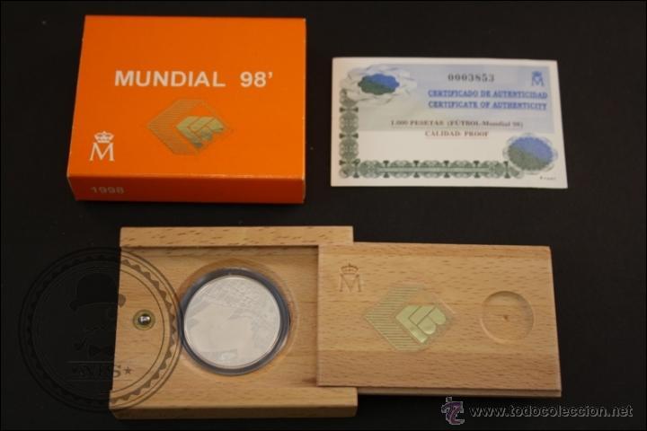 ESTUCHE FNMT - MUNDIAL DE FÚTBOL 98 - AÑO 1998 - 1000 PESETAS - PLATA 925 MILÉSIMAS - FDC/PROOF (Numismática - España Modernas y Contemporáneas - Juan Carlos I)