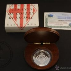 Monedas Juan Carlos I: ESTUCHE FNMT - 750 AÑOS GOBIERNO MUNICIPAL BARCELONA - AÑO 1999 - 2000 PTS - PLATA 925 - FDC/PROOF. Lote 41336155