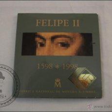 Monedas Juan Carlos I: ESTUCHE OFICIAL FNMT - FELIPE II. EL ESCORIAL - 1998 - 2000 PTAS. - PLATA 925 MILÉSIMAS - FDC/PROOF. Lote 41339106