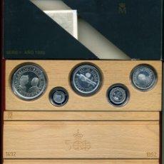 Monedas Juan Carlos I: ESTUCHE MONEDAS 5º QUINTO CENTENARIO 1989 1ª SERIE , 5 MONEDAS PLATA , ORIGINAL. Lote 41506288