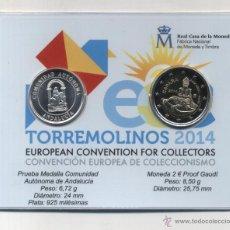 Monedas Juan Carlos I: CARTERA OFICIAL FNMT-RCM TORREMOLINOS 2014. 2 EUROS GAUDÍ + MEDALLA PLATA ANDALUCÍA. PRUEBA. Lote 254666215