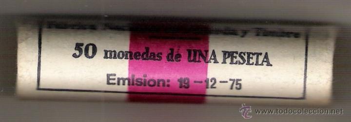 CARTUCHO CON 50 MONEDAS DE UNA PESETA DE LA FNMT. 19-12-1975 (Numismática - España Modernas y Contemporáneas - Juan Carlos I)