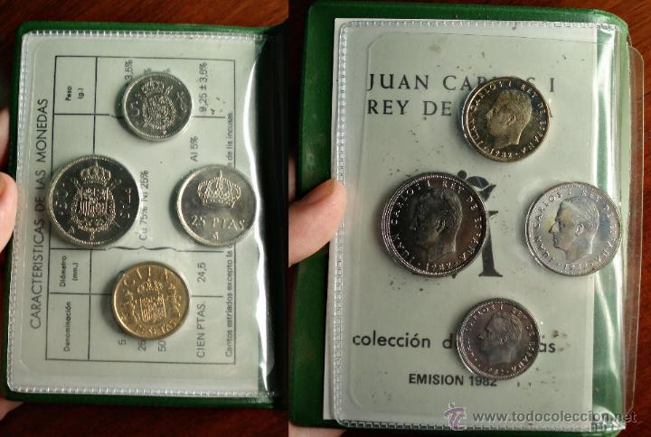 Monedas Juan Carlos I: SERIE NUMISMATICA JUAN CARLOS I REY DE ESPAÑA AÑO 1982 CARTERA ORIGINAL Y MODELO ESCASO - Foto 3 - 46590393