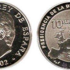 Monedas Juan Carlos I: ESPAÑA: 10 EUROS PLATA 2002 PROOF PRESIDENCIA DE LA UNIÓN EUROPEA. Lote 53047778
