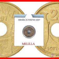 Monedas Juan Carlos I: ESPAÑA MONEDA DE 25 PESETAS, JUAN CARLOS, AÑO 1997 MELILLA, BUENA CONSERVACION. Lote 113774440