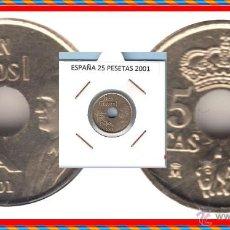 Monedas Juan Carlos I: ESPAÑA MONEDA DE 25 PESETAS, JUAN CARLOS, AÑO 2001 , BUENA CONSERVACION. Lote 137186946