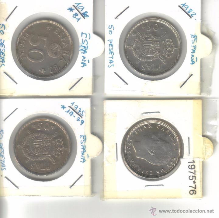 Monedas Juan Carlos I: lote 4 monedas de 50 pesetas Juan Carlos I - Foto 2 - 53573045