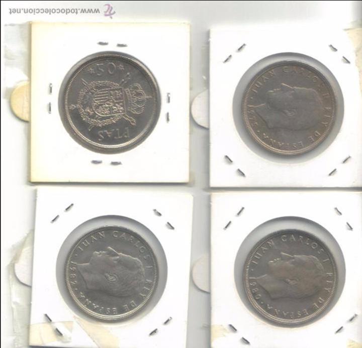 LOTE 4 MONEDAS DE 50 PESETAS JUAN CARLOS I (Numismática - España Modernas y Contemporáneas - Juan Carlos I)