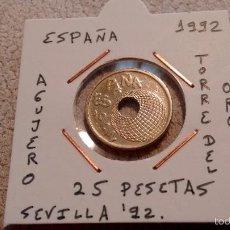 Monedas Juan Carlos I: MONEDA DE ESPAÑA DE 25 PESETAS 1992 EBC ENCARTONADA. Lote 56018466