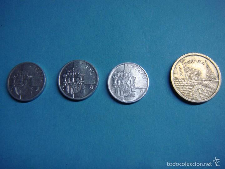 LOTE DE 4 MONEDAS. TRES PESETAS 1990, 1992 Y 1996. 5 PESETAS LA RIOJA DE 1996. JUAN CARLOS I. MONEDA (Numismática - España Modernas y Contemporáneas - Juan Carlos I)