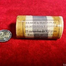 Monedas Juan Carlos I: CARTUCHO DE 25 MONEDAS DE 100 PESETAS DE 1975 FÁBRICA NACIONAL MONEDA TIMBRE. Lote 56259880