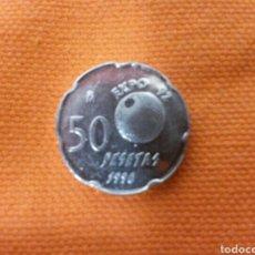 Monedas Juan Carlos I: 50 PESETAS 1990 EBC+ ERROR PANTOGRAFO. Lote 76369555