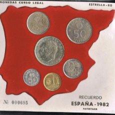 Monedas Juan Carlos I: ALBUM MONEDAS JUAN CARLOS I DE 1982, ESTRELLAS 80-81-82, TRES MAPAS, MUNDIAL FÚTBOL.. Lote 94230685