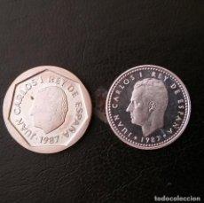 Monedas Juan Carlos I: MONEDAS 3ª EXPOSICION NACIONAL E-87 1 PESETA Y 200 PESETAS. Lote 100291107