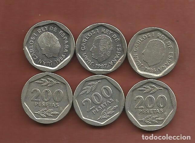 ESPAÑA: 3 MONEDAS DE 200 PESETAS 1986,1987,1988. (Numismática - España Modernas y Contemporáneas - Juan Carlos I)