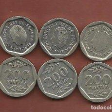 Monedas Juan Carlos I: ESPAÑA: 3 MONEDAS DE 200 PESETAS 1986,1987,1988.. Lote 178936483