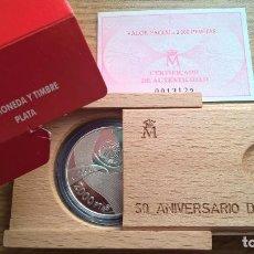Monedas Juan Carlos I: 2000 PESETAS DE PLATA ANIVERSARIO DE LA ONU. ESTUCHE + CERTIFICADO PROOF. Lote 224741368