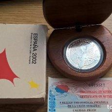 Monedas Juan Carlos I: 10 EUROS DE PLATA DE 2002. PRESIDENCIA DE LA UNIÓN EUROPEA. ESTUCHE + CERTIFICADO. Lote 210593466