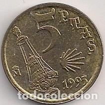 ESPAÑA - 5 PESETAS 1993 - AÑO JACOBEO - BOTAFUMEIRO (Numismática - España Modernas y Contemporáneas - Juan Carlos I)