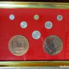 Monedas Juan Carlos I: PRECIOSO CUADRO CON LA PRIMERA SERIE DE MONEDAS DEL MUNDIAL DE FUTBOL ESPAÑA'82 Y MEDALLAS LOTE-0817. Lote 109333407