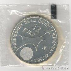 Monedas Juan Carlos I: MONEDA 12 EUROS PLATA - JUAN CARLOS I Y SOFIA 2002. PRESIDENCIA DE LA UNIÓN EUROPEA S/C - EN FUNDA. Lote 111178123