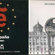 Monedas Juan Carlos I: CARTERA OFICIAL FNMT DEL AÑO 1995. PRESIDENCIA ESPAÑOLA UNIÓN EUROPEA 2000 PESETAS PLATA. Lote 111523183